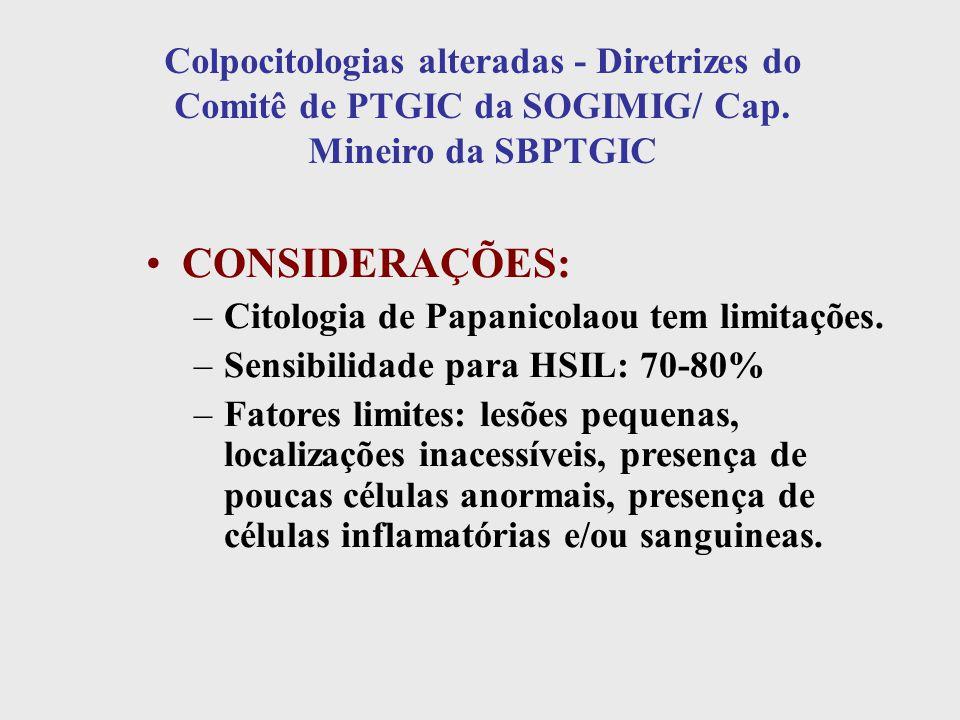 CONSIDERAÇÕES: –Citologia de Papanicolaou tem limitações. –Sensibilidade para HSIL: 70-80% –Fatores limites: lesões pequenas, localizações inacessívei