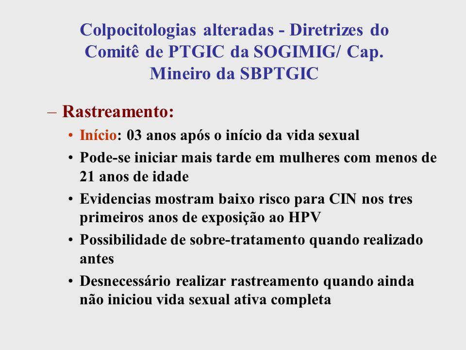 Colpocitologias alteradas - Diretrizes do Comitê de PTGIC da SOGIMIG/ Cap. Mineiro da SBPTGIC –Rastreamento: Início: 03 anos após o início da vida sex