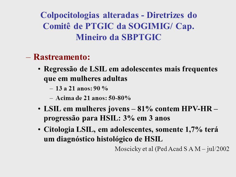 Colpocitologias alteradas - Diretrizes do Comitê de PTGIC da SOGIMIG/ Cap. Mineiro da SBPTGIC –Rastreamento: Regressão de LSIL em adolescentes mais fr