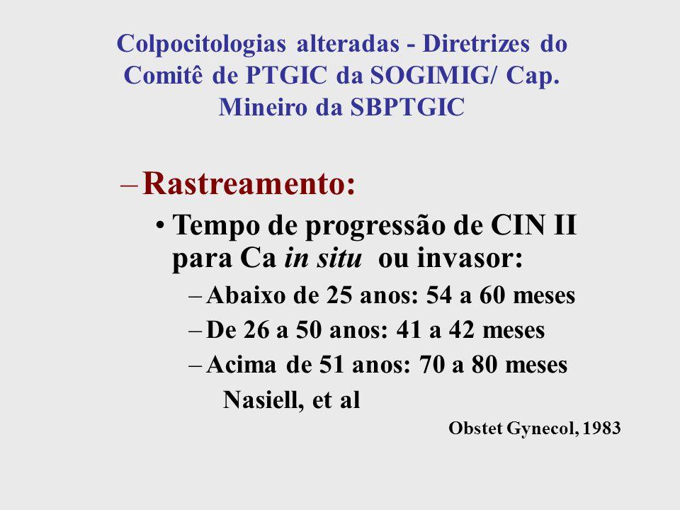 Colpocitologias alteradas - Diretrizes do Comitê de PTGIC da SOGIMIG/ Cap. Mineiro da SBPTGIC –Rastreamento: Tempo de progressão de CIN II para Ca in