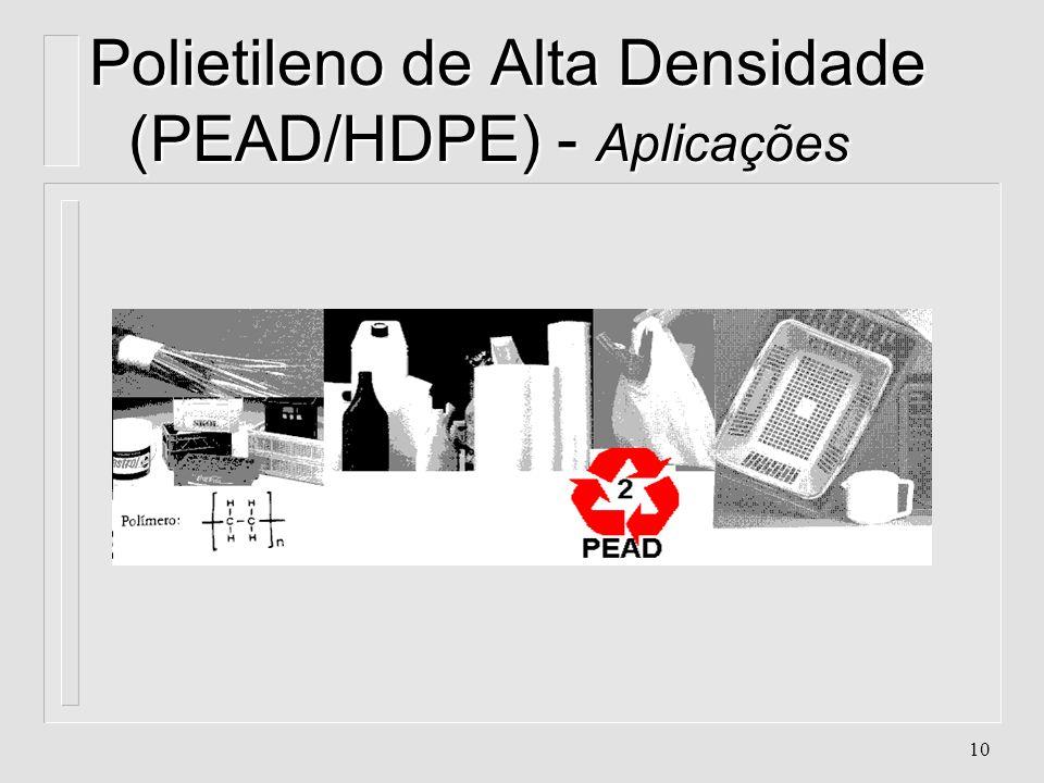 9 Polietileno de Alta Densidade (PEAD/HDPE) - Aplicações l. Embalagens ligadas ao processo de moldagem por sopro. l. Perfis l. Caixas de leite l. Engr