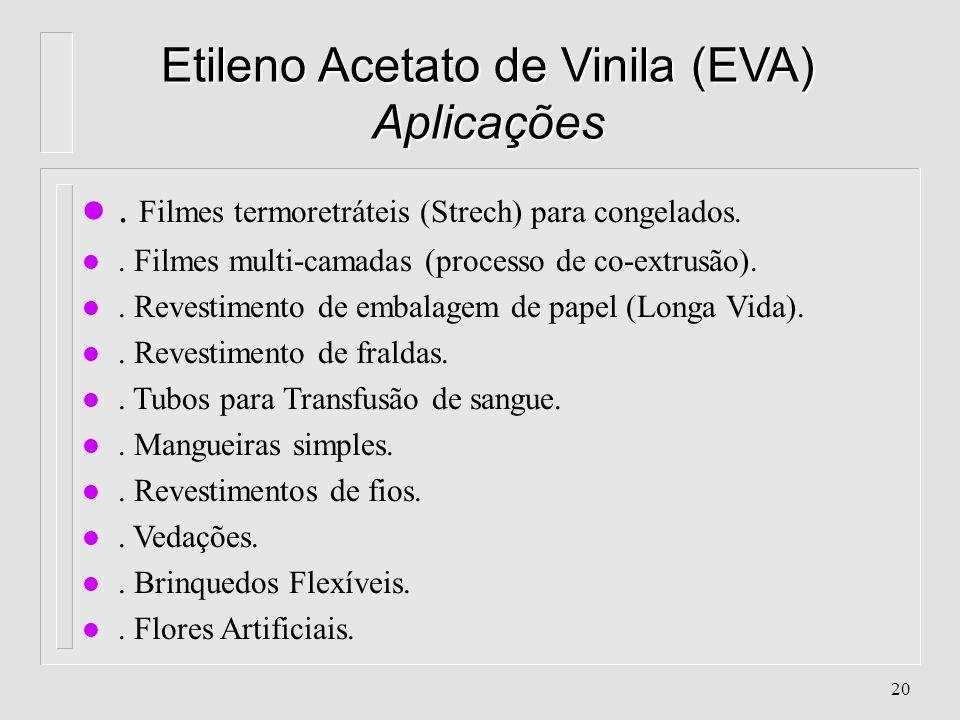 19 Etileno Acetato de Vinila (EVA) Características l % de Acetato de Vinila aceita: 3 - 25% Quanto maior a incorporação de Acetato de Vinila, maior a