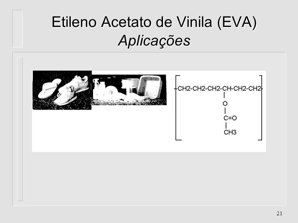 20 Etileno Acetato de Vinila (EVA) Aplicações l. Filmes termoretráteis (Strech) para congelados. l. Filmes multi-camadas (processo de co-extrusão). l.