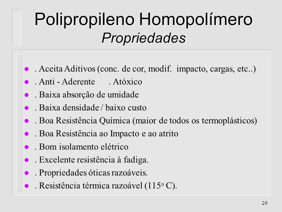 25 Polipropileno - Características l Aparência: Branco, translúcido l Classificação: Poliolefina, Vinílico, de Poliadição l Cristalinidade: 60 - 70% l