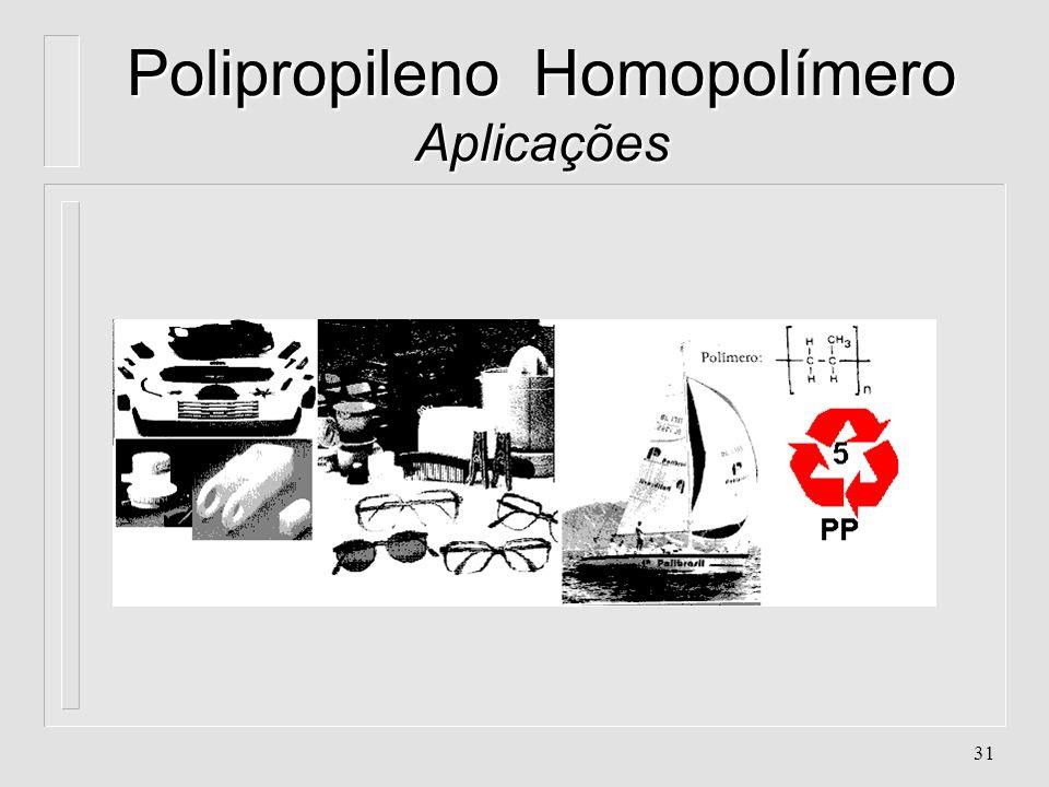 30 Polipropileno Homopolímero Aplicações l. Dobradiças em geral l. Grande peças da linha automotiva (maçanetas, dutos de ar, ventoinhas,...) l. Haste