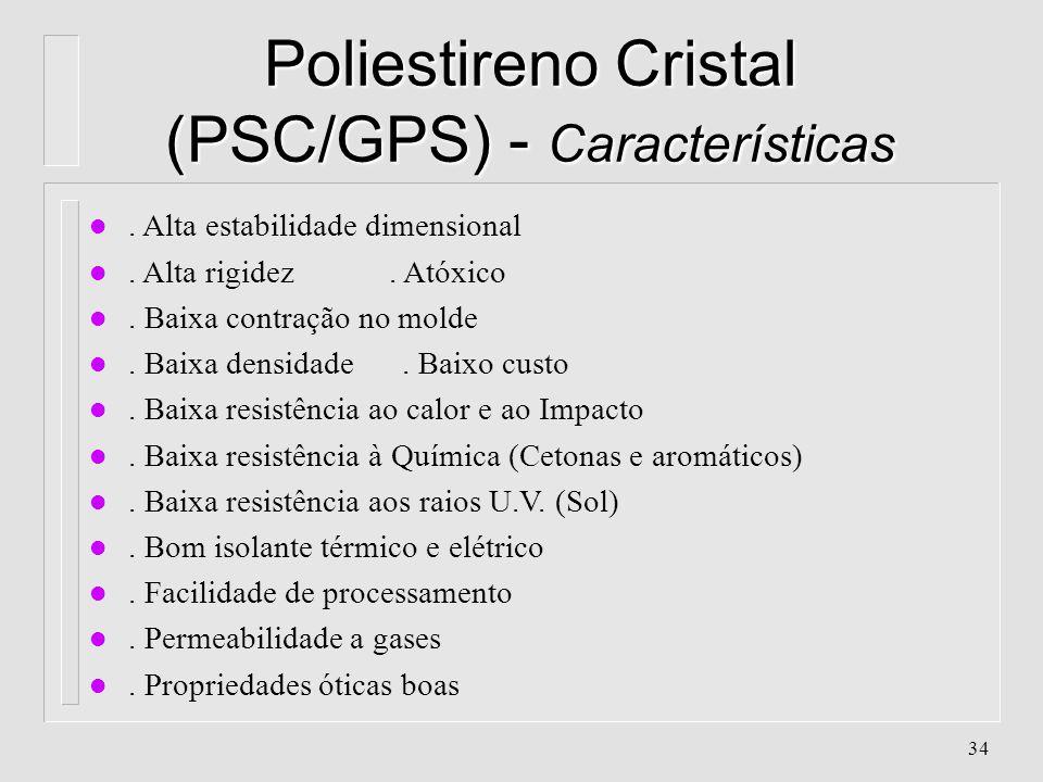 33 Poliestirenos - Características l Aparência: Transparente l Classificação: Poliolefina, Vinílico, Poliadição l Cristalinidade: quase 0% (Polímero A