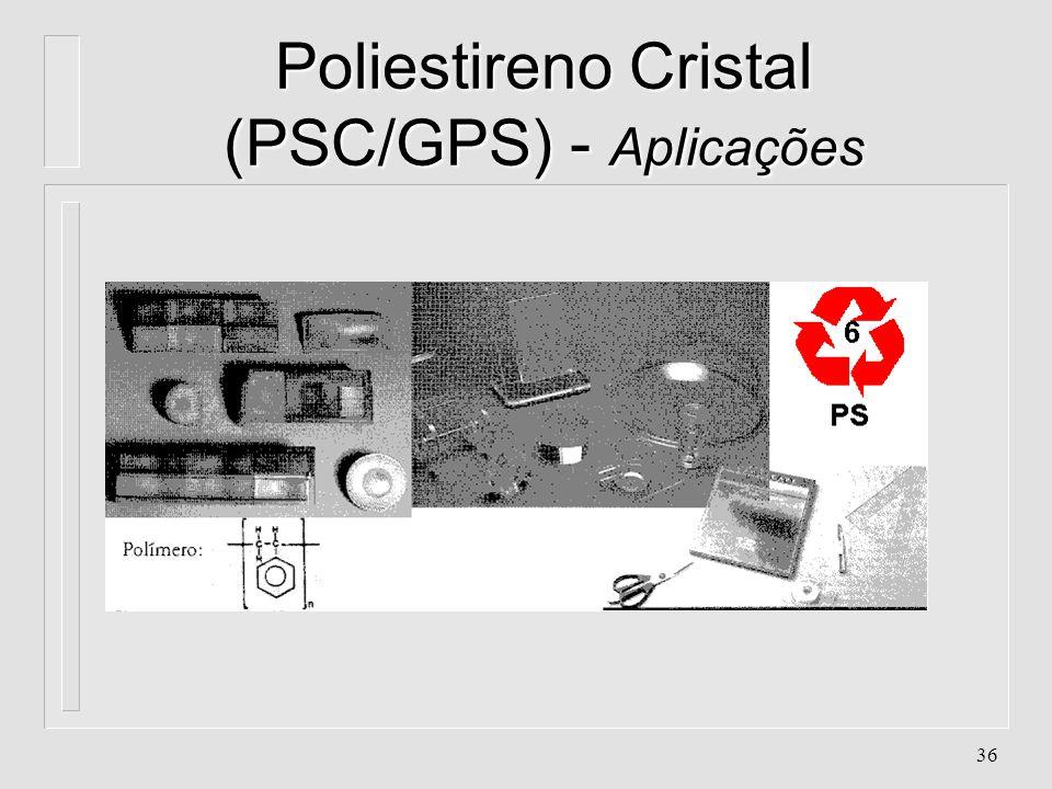35 Poliestireno Cristal (PSC/GPS) - Aplicações l. Box para banheiros l. Brinquedos l. Cabos de escovas l. Caixas para fitas cassetes e CD's l. Eletrod