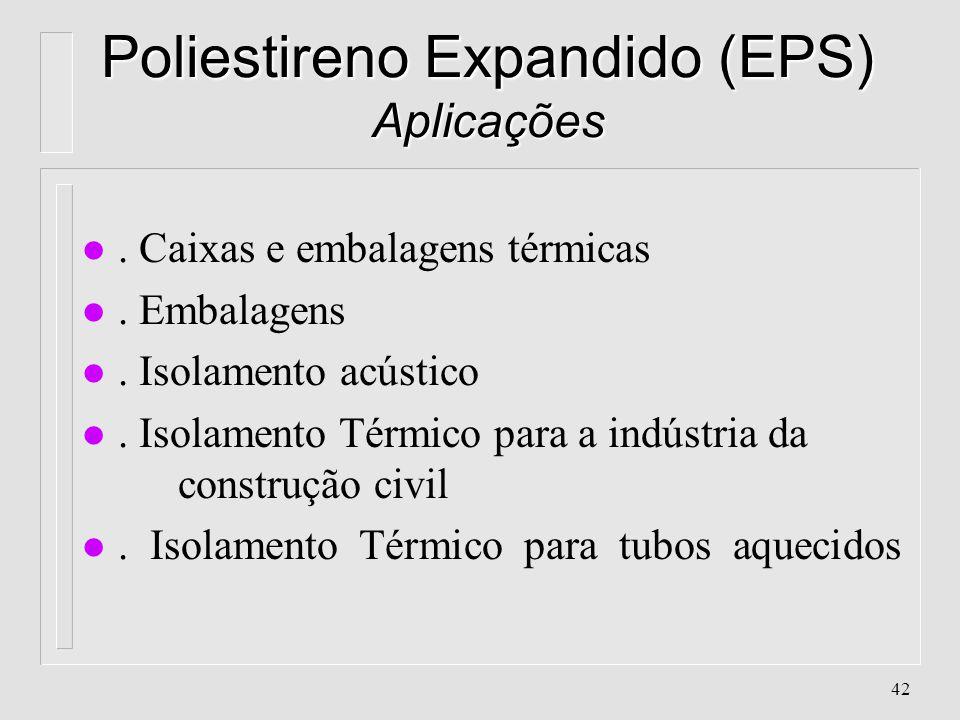 41 Poliestireno Expandido (EPS) Características l. Nomes comerciais: Styropor, Isopor (BASF) l. Obtido através do Poliestireno + Agente de Expansão l.
