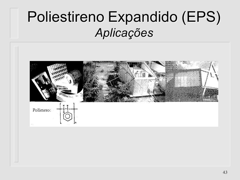 42 Poliestireno Expandido (EPS) Aplicações l. Caixas e embalagens térmicas l. Embalagens l. Isolamento acústico l. Isolamento Térmico para a indústria