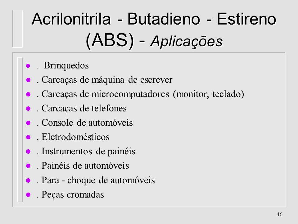 45 Produtos Típicos l ABS Acrilonitrila = 15 a 30% Butadieno = 5 a 30% Estireno = o restante l SAN Acrilonitrila = 15 a 35% Estireno = 65 a 85%