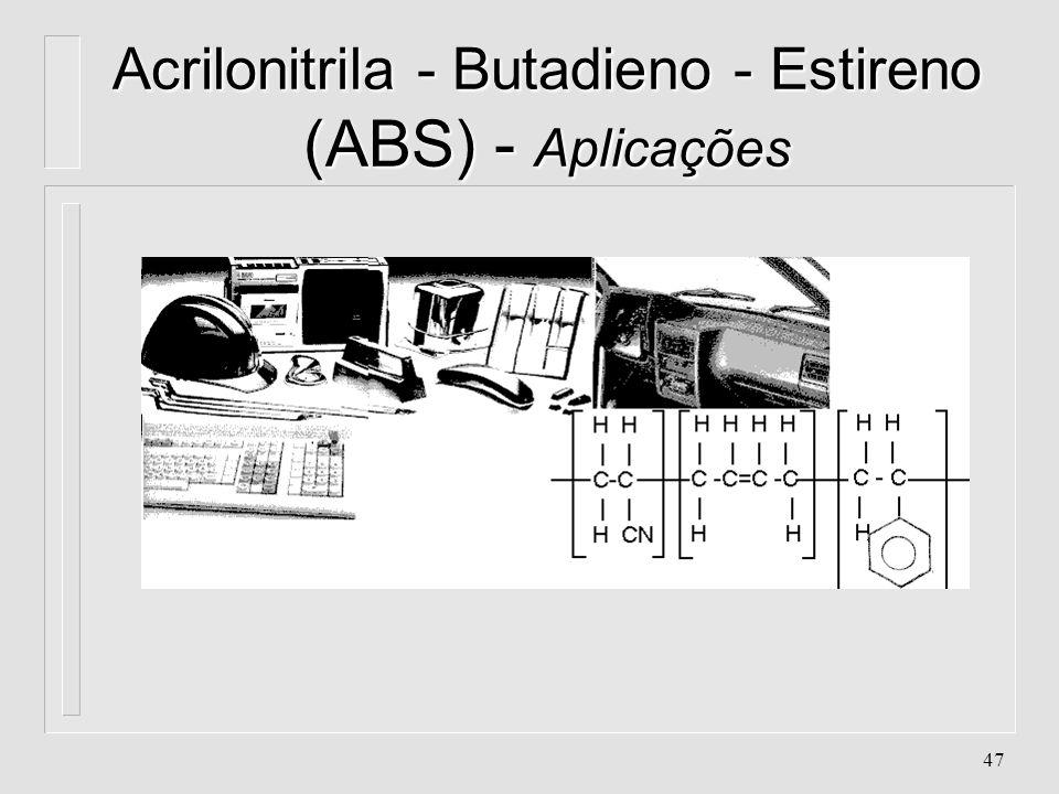 46 Acrilonitrila - Butadieno - Estireno (ABS) - Aplicações l. Brinquedos l. Carcaças de máquina de escrever l. Carcaças de microcomputadores (monitor,