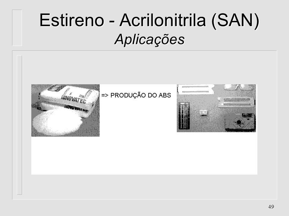 48 Estireno - Acrilonitrila (SAN) Aplicações l. Acessórios de banheiro l. Compartimentos de filtros de água l. Eletrodomésticos l. Gavetas de refriger