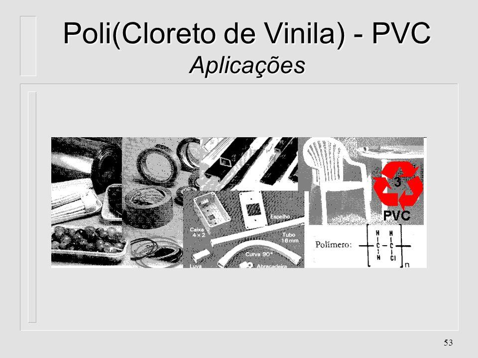52 Poli(Cloreto de Vinila) - PVC Aplicações n. Artigos escolares. Baldes n. Brinquedos. Conduítes (eletrodutos) n. Eletrodomésticos. Embalagens para r