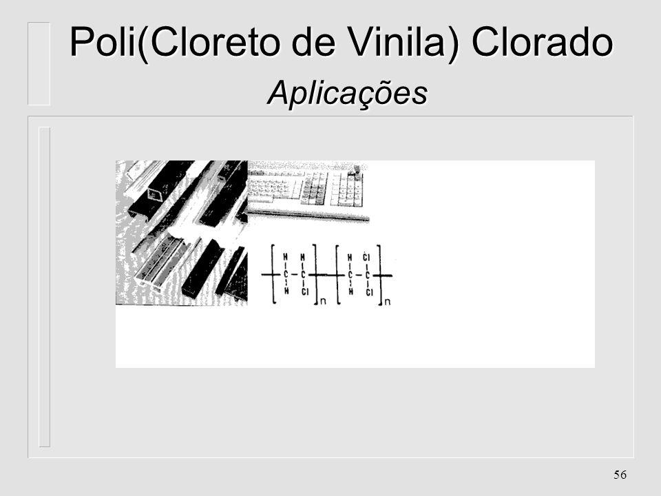 55 Poli(Cloreto de Vinila) Clorado Aplicações l. Carcaças de equipamentos de telecomunicações l. Carcaças de impressora, máquina registradora, etc....