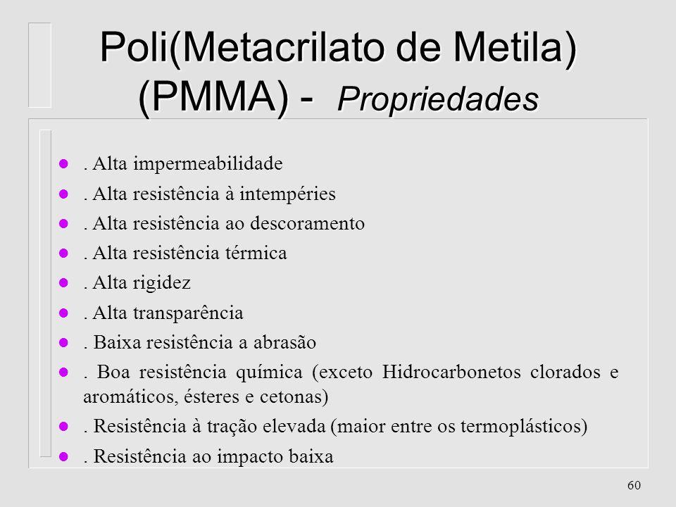 59 Poli(Metacrilato de Metila) (PMMA) - Características l Aparência:Transparente l Classificação: Poliolefina, Vinílico, de Poliadição l Cristalinidad