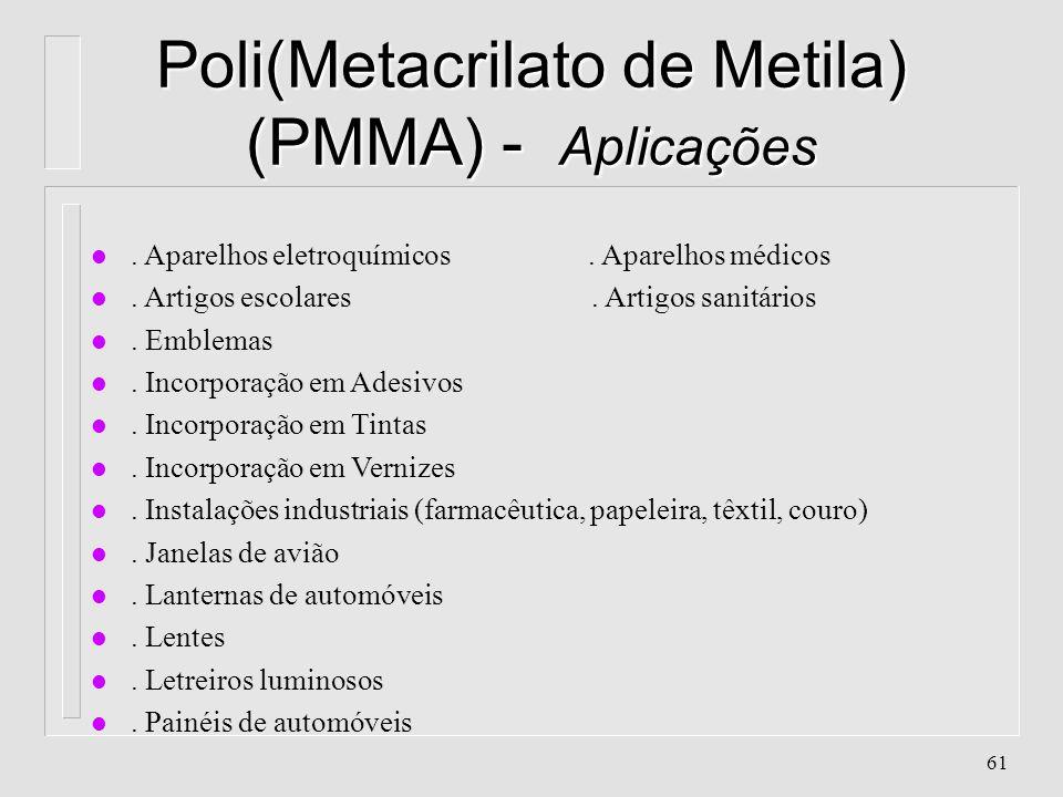 60 Poli(Metacrilato de Metila) (PMMA) - Propriedades l. Alta impermeabilidade l. Alta resistência à intempéries l. Alta resistência ao descoramento l.
