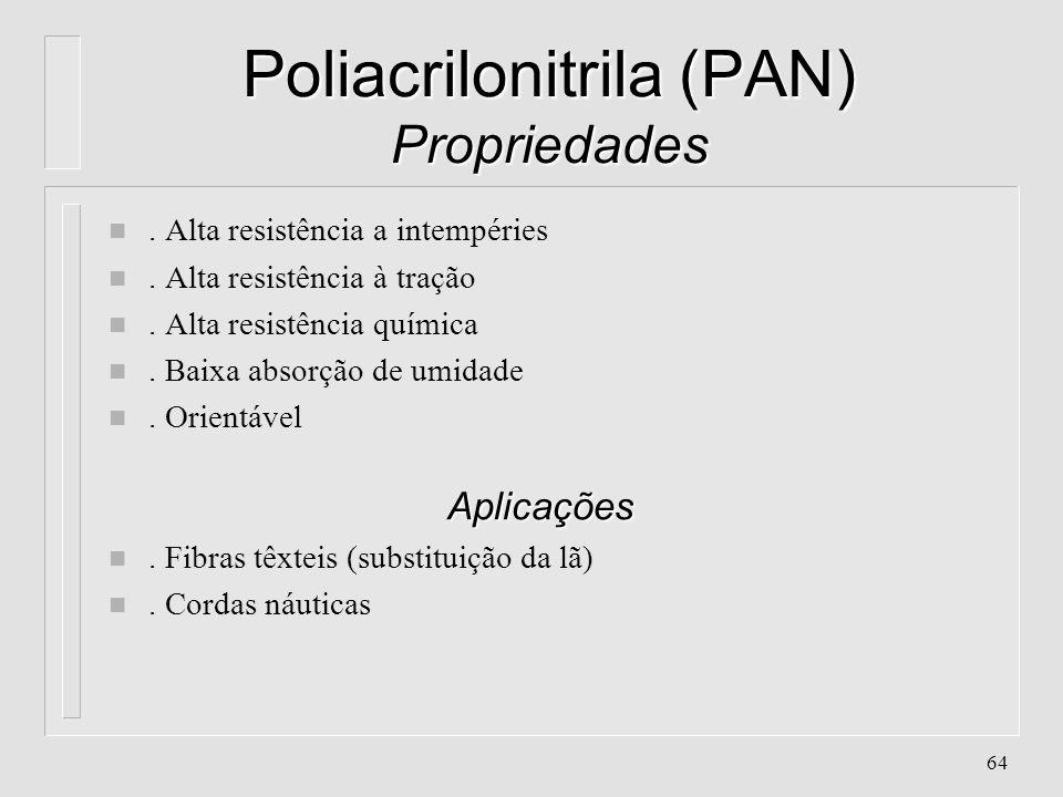 63 Poliacrilonitrila (PAN) Características n Aparência: Transparente n Classificação:Poliolefina, Vinílico, de Poliadição n Cristalinidade: quase 0%,