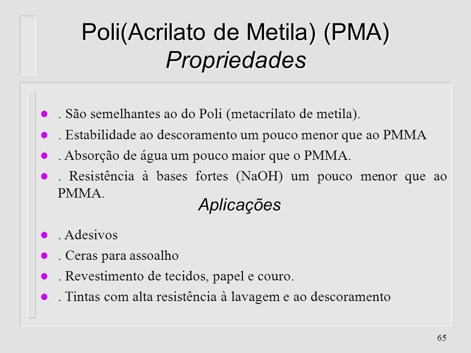 64 Poliacrilonitrila (PAN) Propriedades n. Alta resistência a intempéries n. Alta resistência à tração n. Alta resistência química n. Baixa absorção d