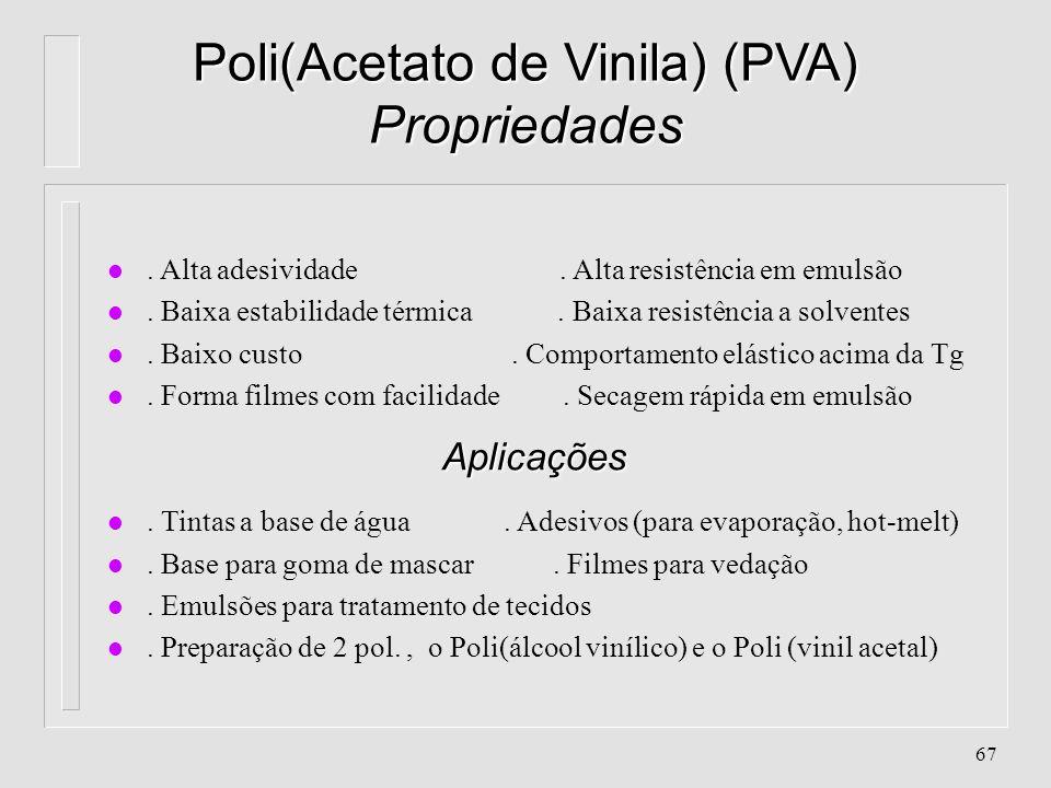 66 Poli(Acetato de Vinila) (PVA) Características l Cristalinidade: quase 0%, amorfo l Densidade: 1,18 g/cm 3 l Peso Molecular:5.000 - 500.000 u.m.a l
