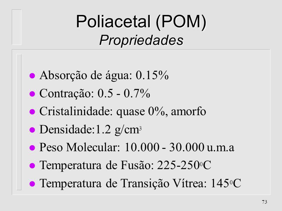 72 Poliacetal (POM) Características l Absorção de água: 0.15% l Contração: 0.5 - 0.7% l Cristalinidade: quase 0%, amorfo l Densidade:1.2 g/cm 3 l Peso