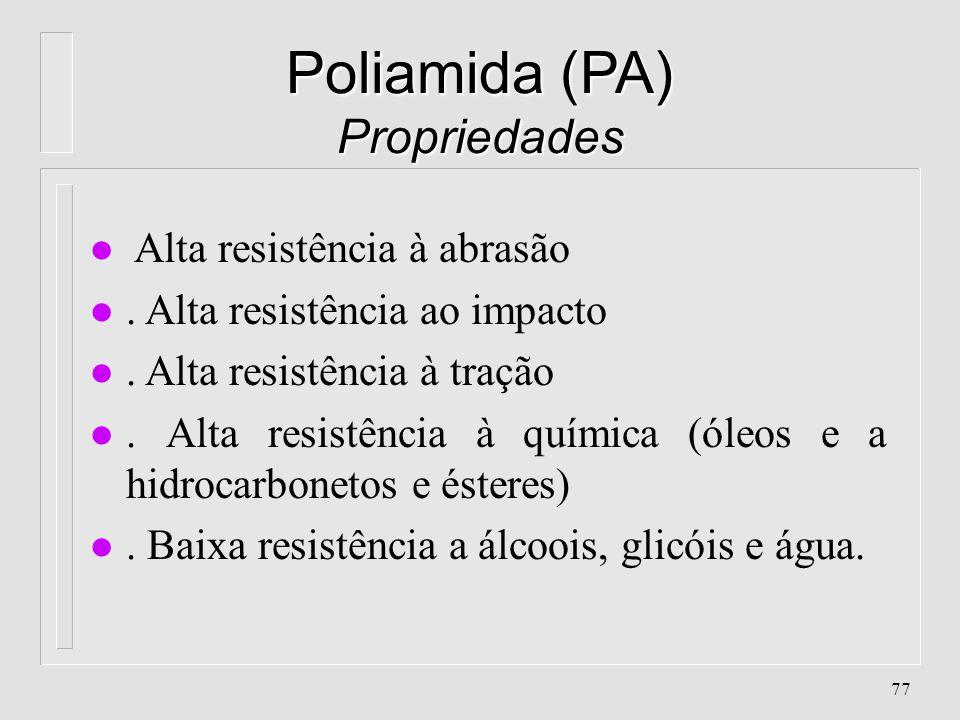 76 Poliamida (PA) Características l. Absorção de água: 1.3 - 1.6 % l. Contração: 1.5 % l. Densidade: 1.13 - 1.14 l. Peso Molecular: 10.000 - 40.000 u.