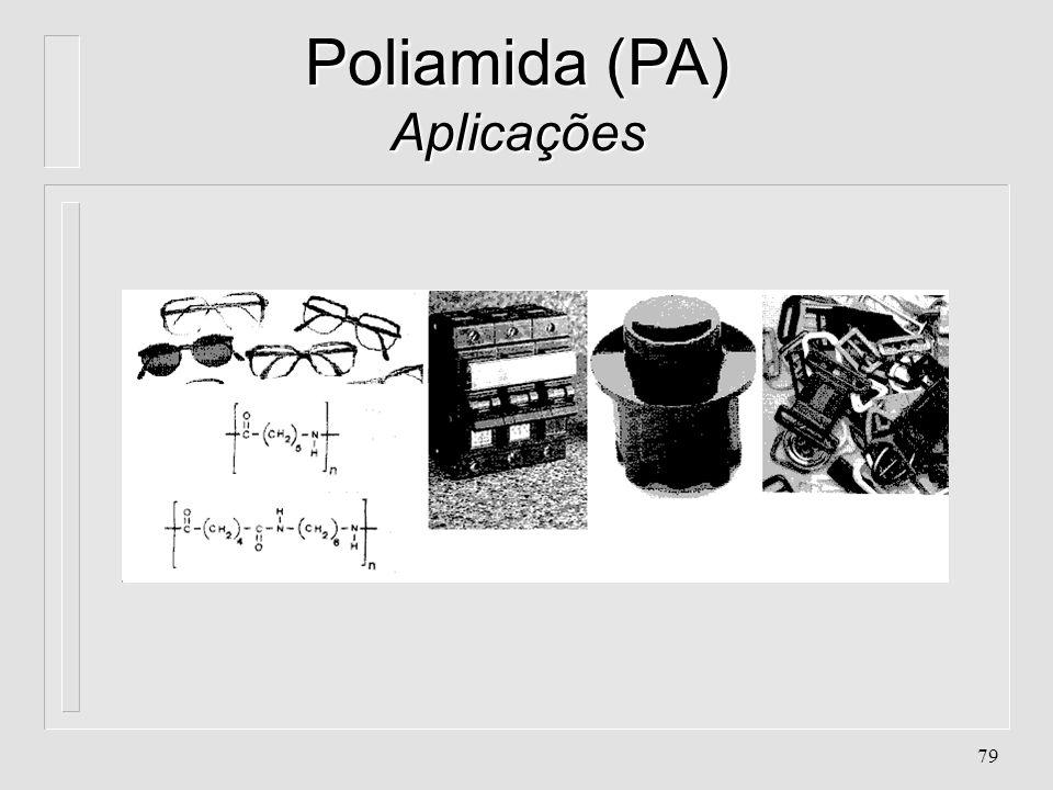 78 Poliamida (PA) Aplicações l. Engrenagens, buchas, assentos (mecanismos) l. Tubulações para líquidos, água quente, petróleo l. Recobrimentos de fios