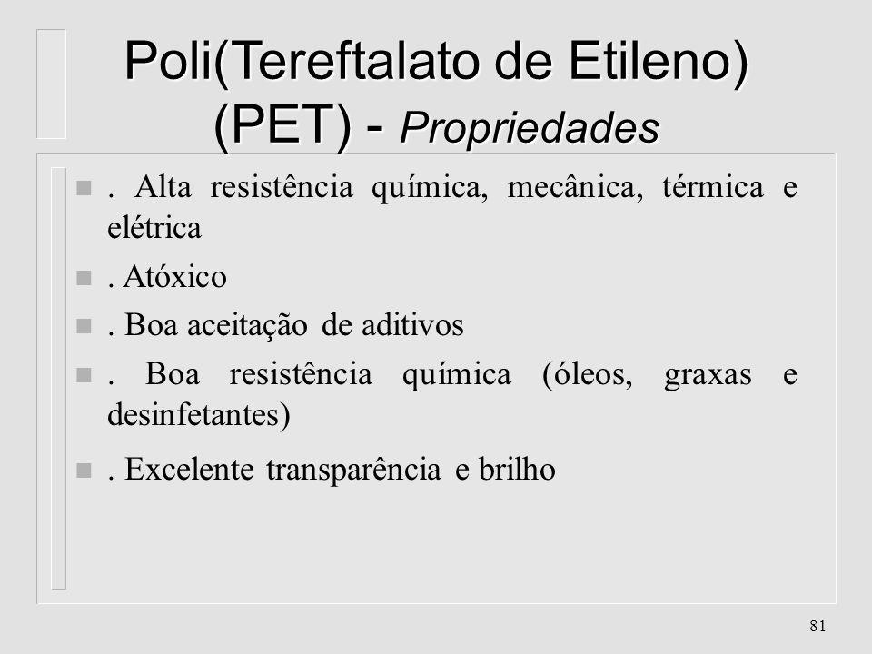 80 Poli(Tereftalato de Etileno) (PET) - Características n Absorção de água: 0.2 % n Aparência: Transparente à branco n Contração: 0.3 % n Cristalinida