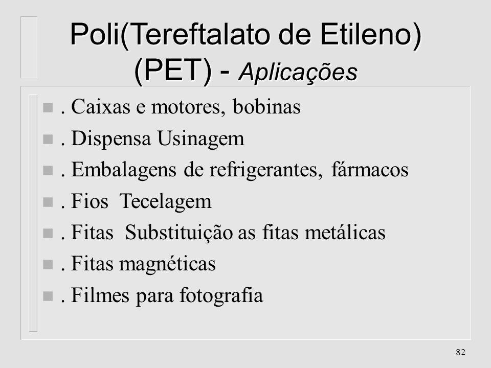 81 Poli(Tereftalato de Etileno) (PET) - Propriedades n. Alta resistência química, mecânica, térmica e elétrica n. Atóxico n. Boa aceitação de aditivos