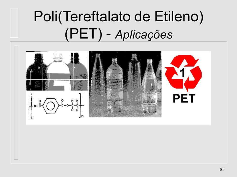 82 Poli(Tereftalato de Etileno) (PET) - Aplicações n. Caixas e motores, bobinas n. Dispensa Usinagem n. Embalagens de refrigerantes, fármacos n. Fios