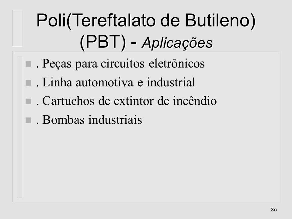 85 Poli(Tereftalato de Butileno) (PBT) - Propriedades n. Alta resistência química e elétrica n. Atóxico n. Alta resistência a temperaturas altas n. Bo