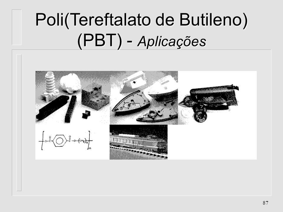 86 Poli(Tereftalato de Butileno) (PBT) - Aplicações n. Peças para circuitos eletrônicos n. Linha automotiva e industrial n. Cartuchos de extintor de i