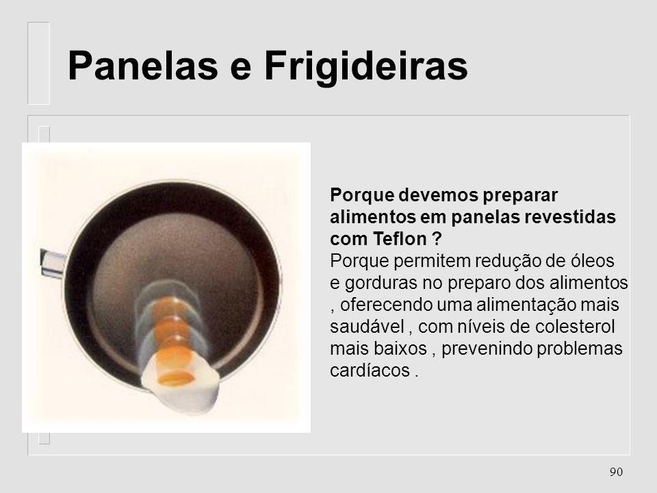 89 TEFLON Tetrafluoretileno O teflon apresenta: n baixo coeficiente de atrito; n resistência química a solventes; n resistência a temperaturas extrema