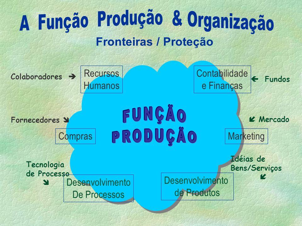 Função Produção Qualidade Marketing Compras R H Contábil e Finanças Comercial P&D Produtos / Serviços Engenharia / Suporte Técnico