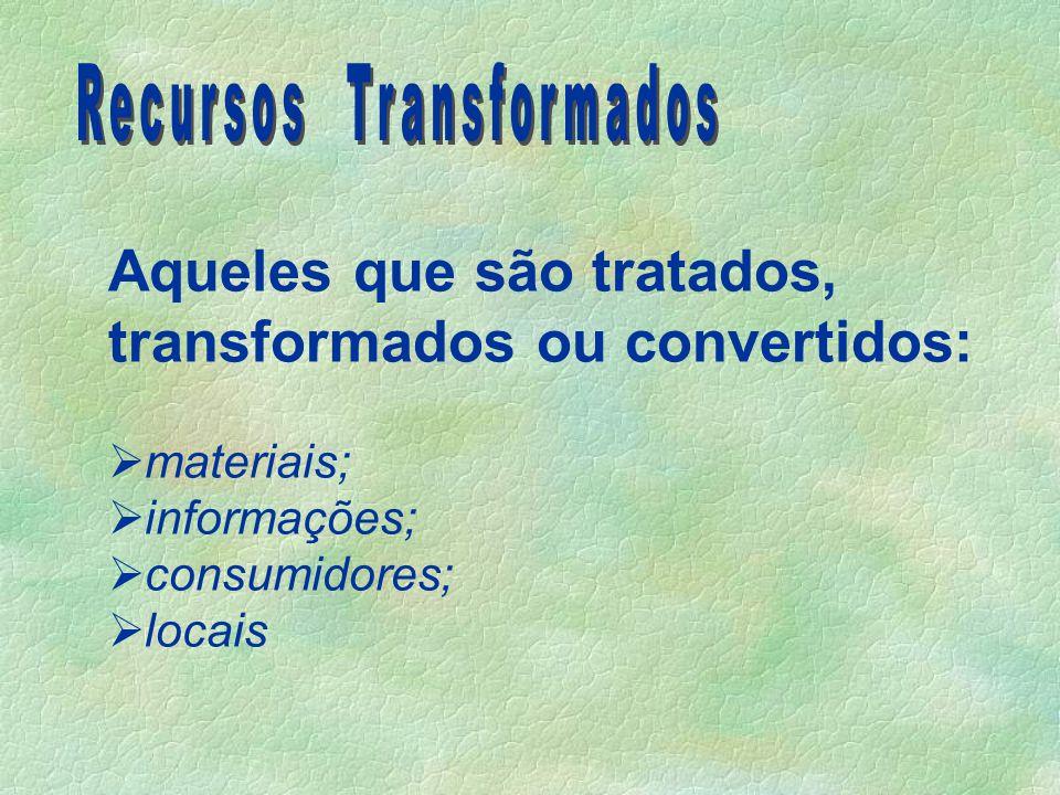 Aqueles que são tratados, transformados ou convertidos:  materiais;  informações;  consumidores;  locais