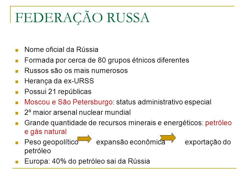 FEDERAÇÃO RUSSA Nome oficial da Rússia Formada por cerca de 80 grupos étnicos diferentes Russos são os mais numerosos Herança da ex-URSS Possui 21 rep