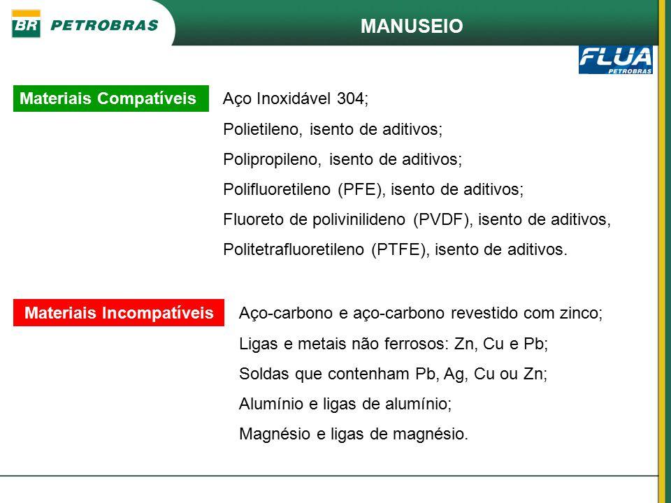 MANUSEIO Materiais CompatíveisAço Inoxidável 304; Polietileno, isento de aditivos; Polipropileno, isento de aditivos; Polifluoretileno (PFE), isento d
