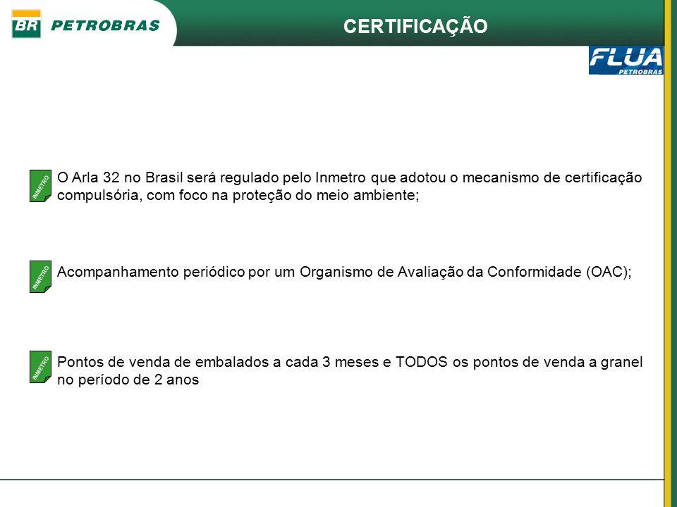 CERTIFICAÇÃO O Arla 32 no Brasil será regulado pelo Inmetro que adotou o mecanismo de certificação compulsória, com foco na proteção do meio ambiente;