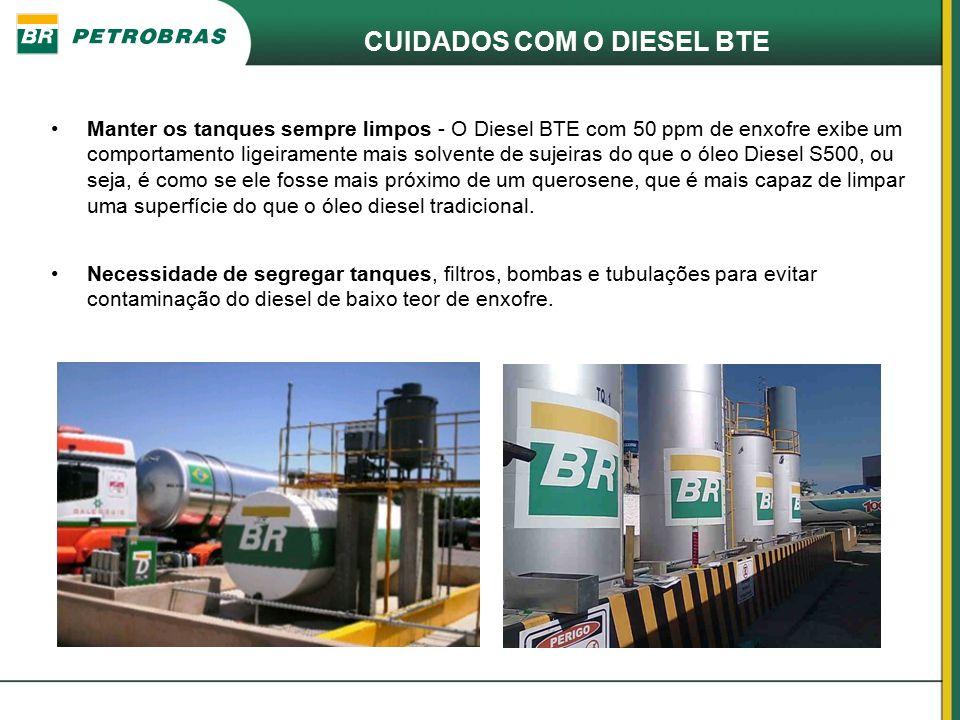 CUIDADOS COM O DIESEL BTE Necessidade de segregar tanques, filtros, bombas e tubulações para evitar contaminação do diesel de baixo teor de enxofre. M