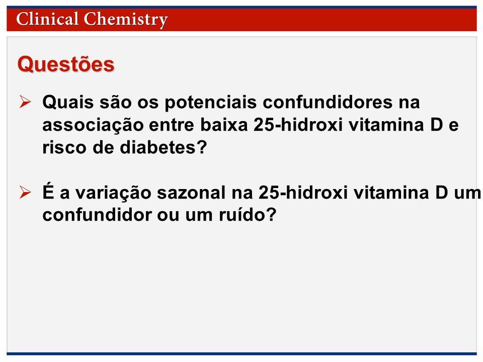 © Copyright 2009 by the American Association for Clinical Chemistry Questões  Quais são os potenciais confundidores na associação entre baixa 25-hidroxi vitamina D e risco de diabetes.
