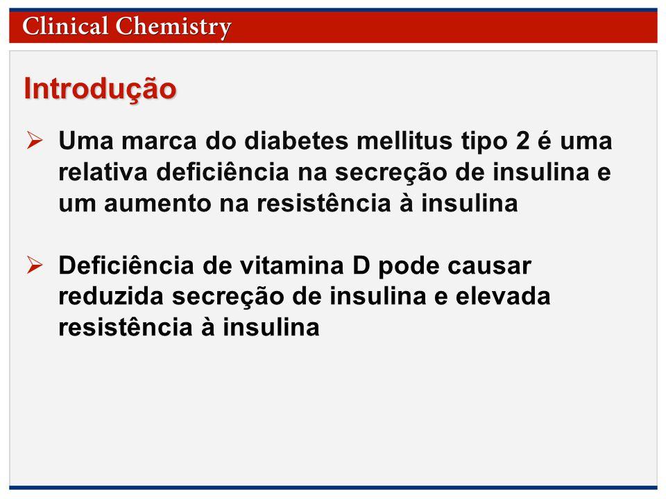 © Copyright 2009 by the American Association for Clinical Chemistry Introdução  Uma marca do diabetes mellitus tipo 2 é uma relativa deficiência na secreção de insulina e um aumento na resistência à insulina  Deficiência de vitamina D pode causar reduzida secreção de insulina e elevada resistência à insulina