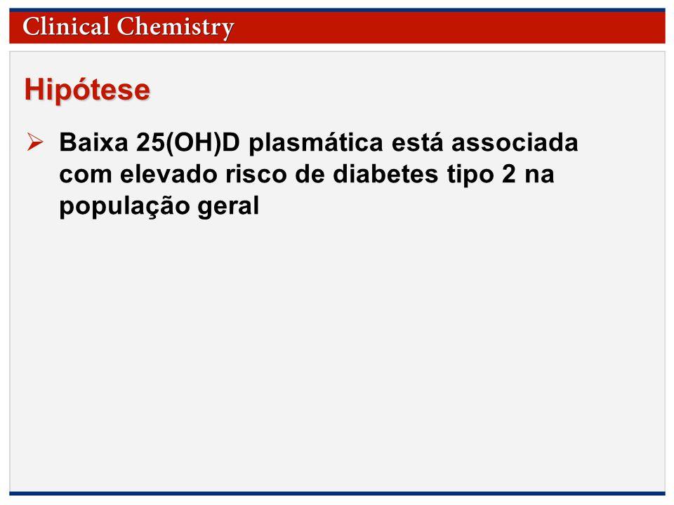 © Copyright 2009 by the American Association for Clinical Chemistry Hipótese  Baixa 25(OH)D plasmática está associada com elevado risco de diabetes tipo 2 na população geral