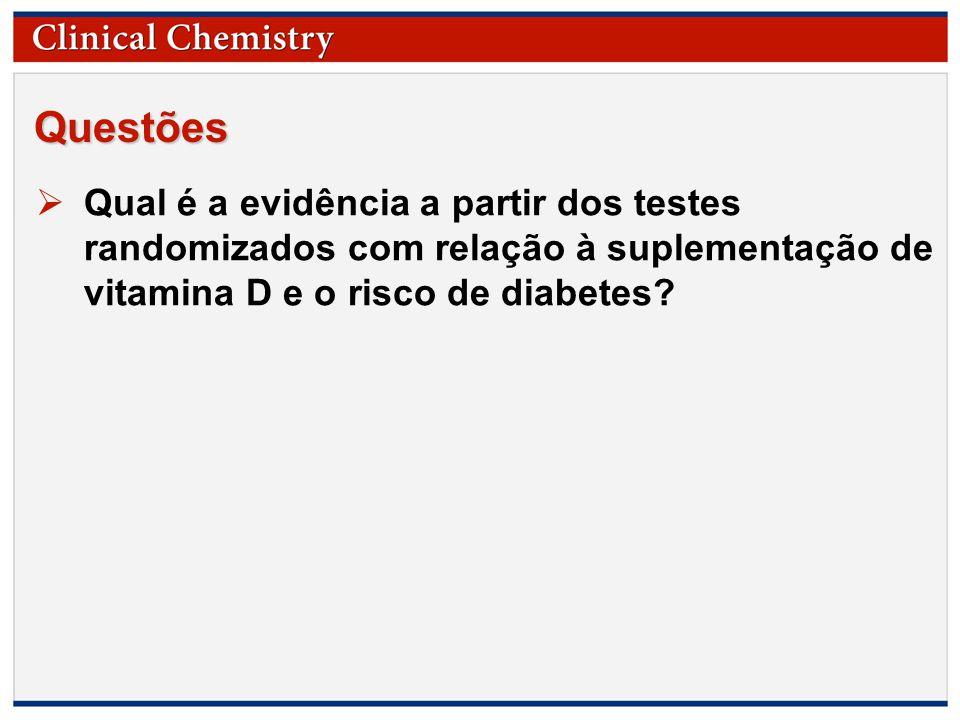 © Copyright 2009 by the American Association for Clinical Chemistry Questões  Qual é a evidência a partir dos testes randomizados com relação à suplementação de vitamina D e o risco de diabetes?