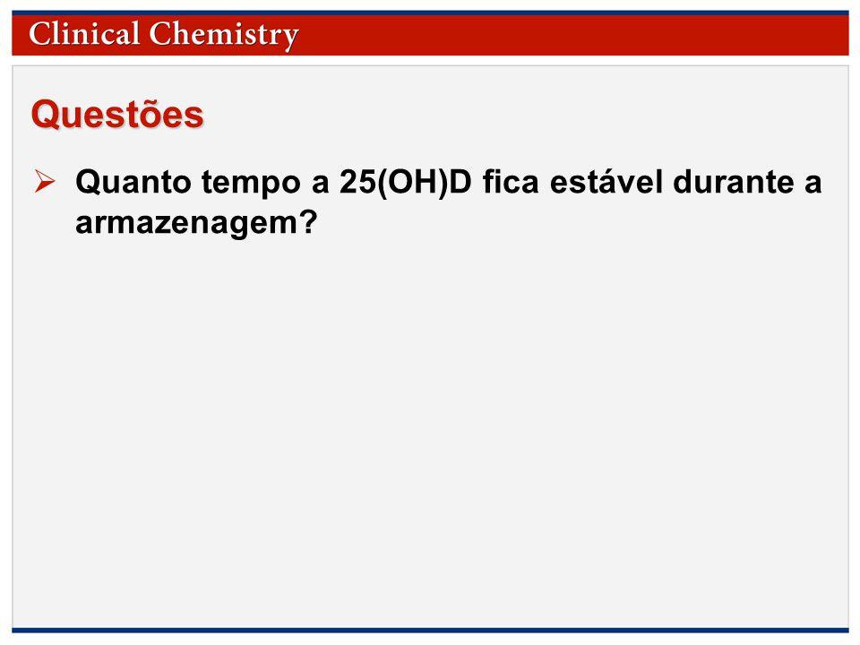 © Copyright 2009 by the American Association for Clinical Chemistry Questões  Quanto tempo a 25(OH)D fica estável durante a armazenagem?