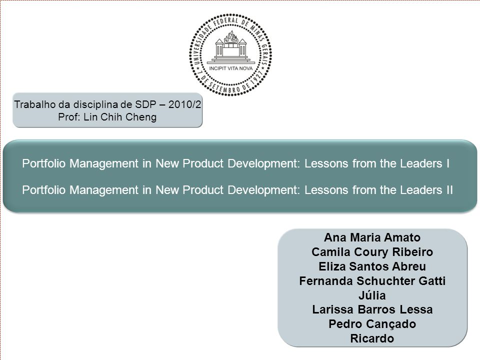 12 Introdução Portfolio Management in New Product Development: Lessons From The Leaders I Portfolio Management in New Product Development: Lessons From The Leaders II Outras Considerações