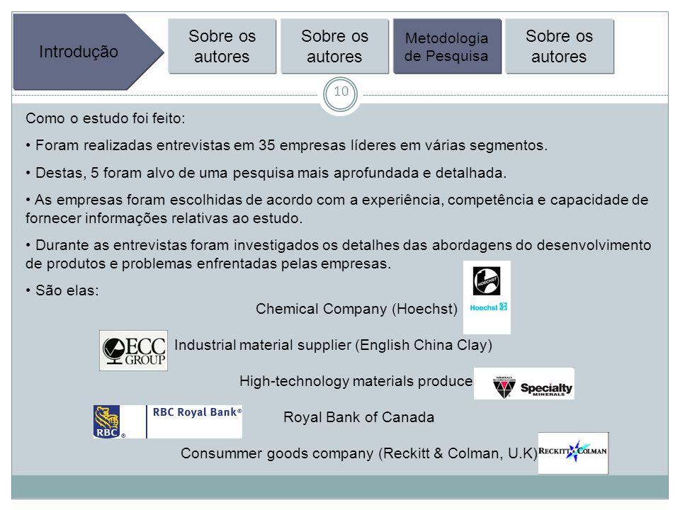 10 Introdução Sobre os autores Metodologia de Pesquisa Sobre os autores Como o estudo foi feito: Foram realizadas entrevistas em 35 empresas líderes em várias segmentos.