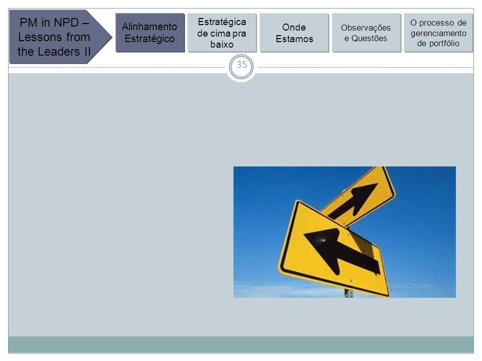 35 PM in NPD – Lessons from the Leaders II Alinhamento Estratégico Estratégica de cima pra baixo Onde Estamos Observações e Questões O processo de gerenciamento de portfólio