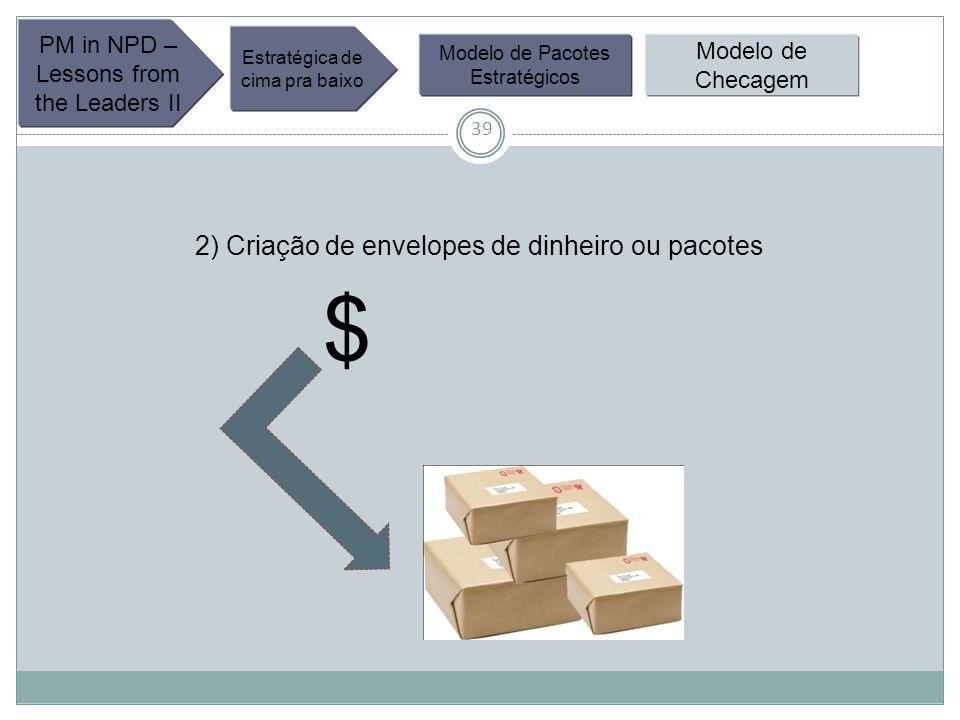 39 PM in NPD – Lessons from the Leaders II Estratégica de cima pra baixo Modelo de Pacotes Estratégicos Modelo de Checagem 2) Criação de envelopes de dinheiro ou pacotes $