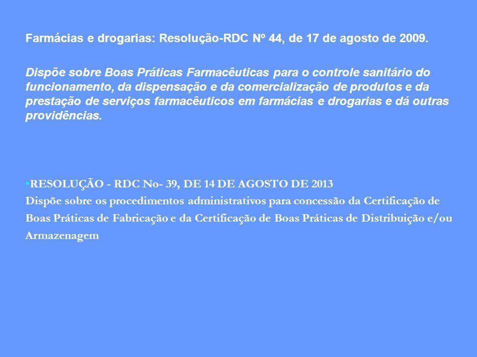 Farmácias e drogarias: Resolução-RDC Nº 44, de 17 de agosto de 2009. Dispõe sobre Boas Práticas Farmacêuticas para o controle sanitário do funcionamen