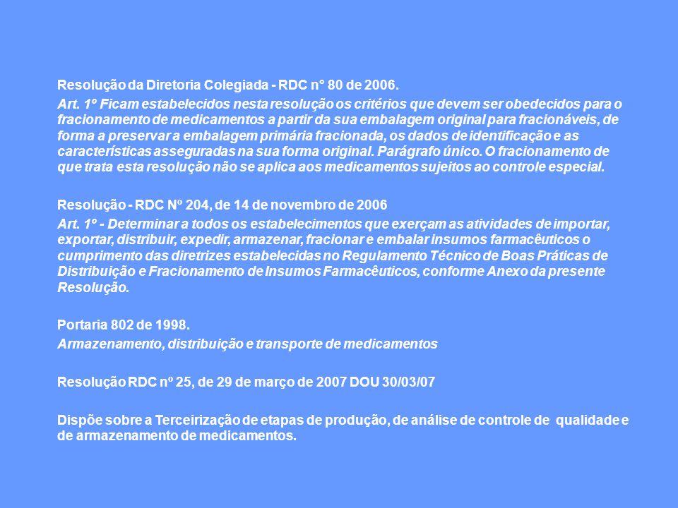 Resolução da Diretoria Colegiada - RDC n° 80 de 2006. Art. 1º Ficam estabelecidos nesta resolução os critérios que devem ser obedecidos para o fracion