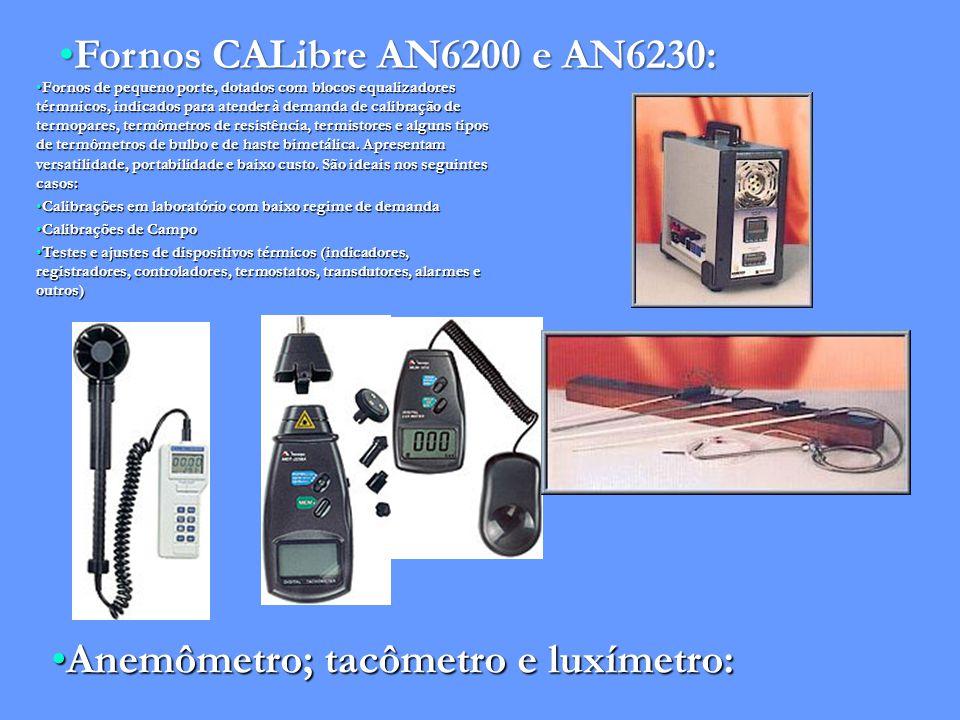 Fornos CALibre AN6200 e AN6230:Fornos CALibre AN6200 e AN6230: Fornos de pequeno porte, dotados com blocos equalizadores térmnicos, indicados para atender à demanda de calibração de termopares, termômetros de resistência, termistores e alguns tipos de termômetros de bulbo e de haste bimetálica.